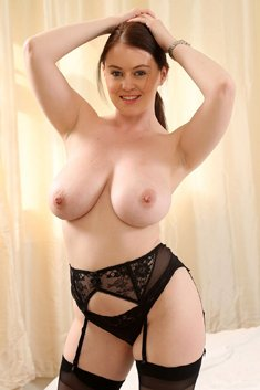 Curvy brunette Brooke G in sexy black lingerie