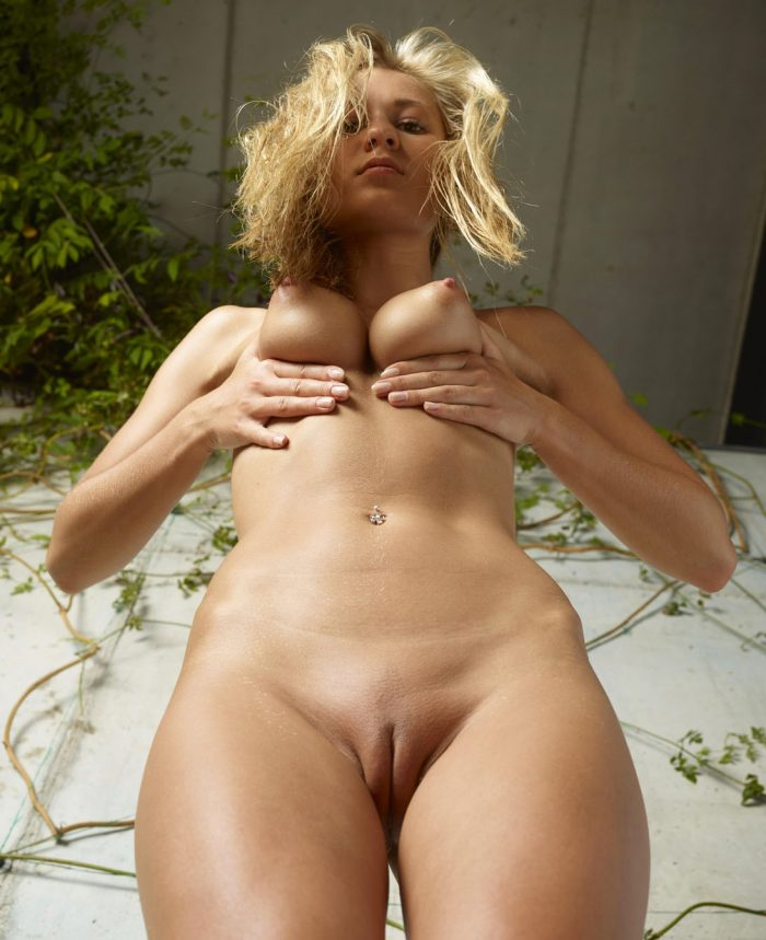 Hot blonde Darina L shows her naked body with a unusual perspective