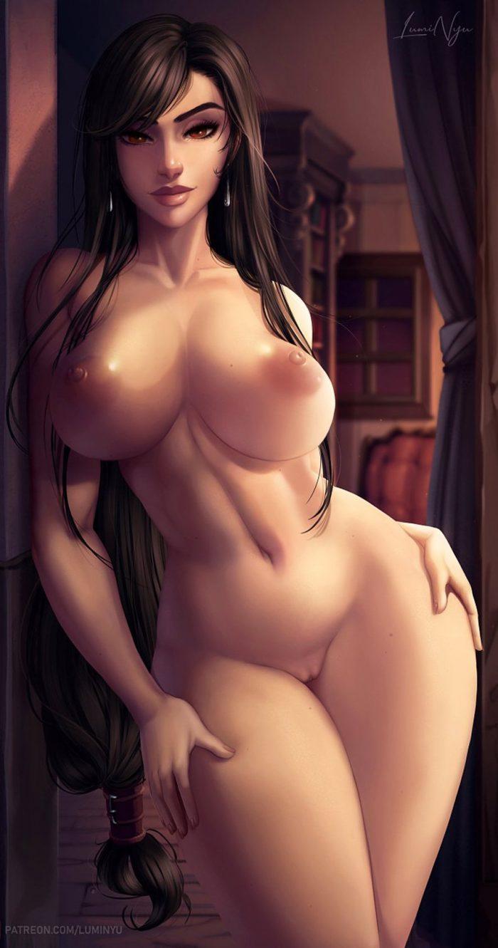 Curvy babe Tifa Lockhart is completely naked