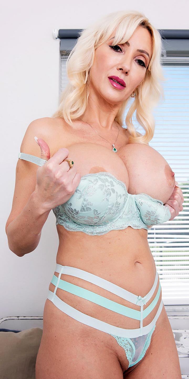 Amazing blonde Victoria Lobov shows her big round tits