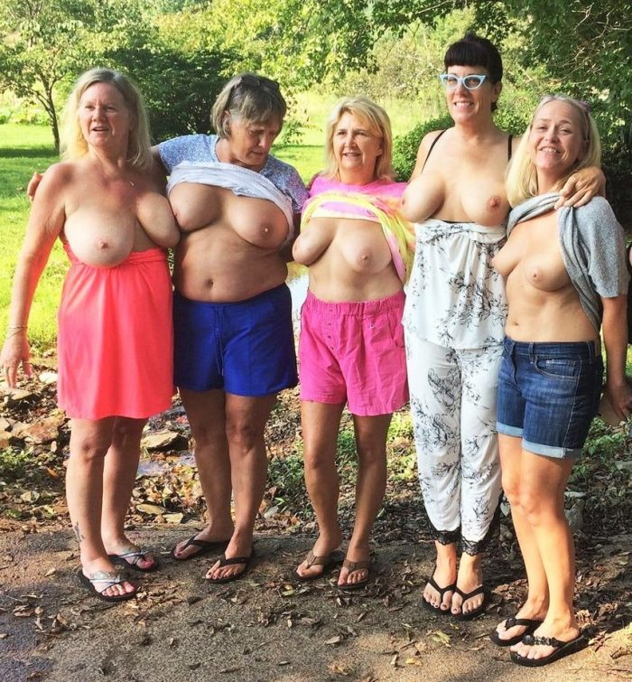 Handsome mature women naked in group