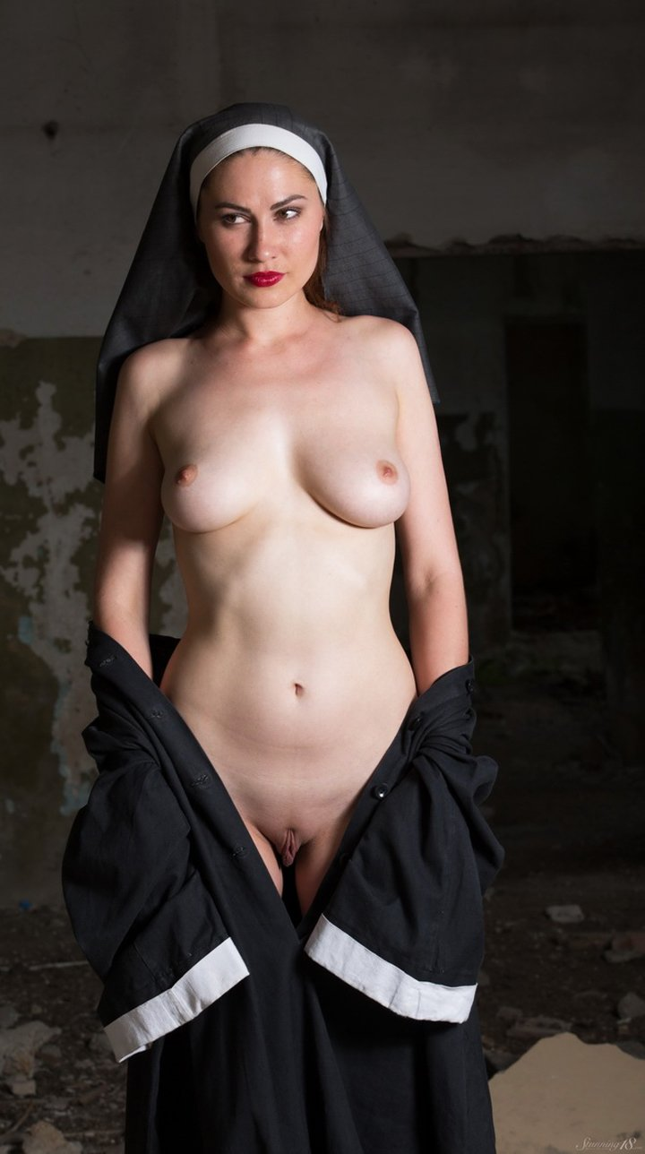 Playful nun Judith Able completely naked