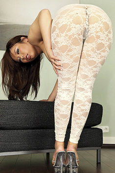 Hot asian MILF Tigerr Benson ripping her pantyhose suit