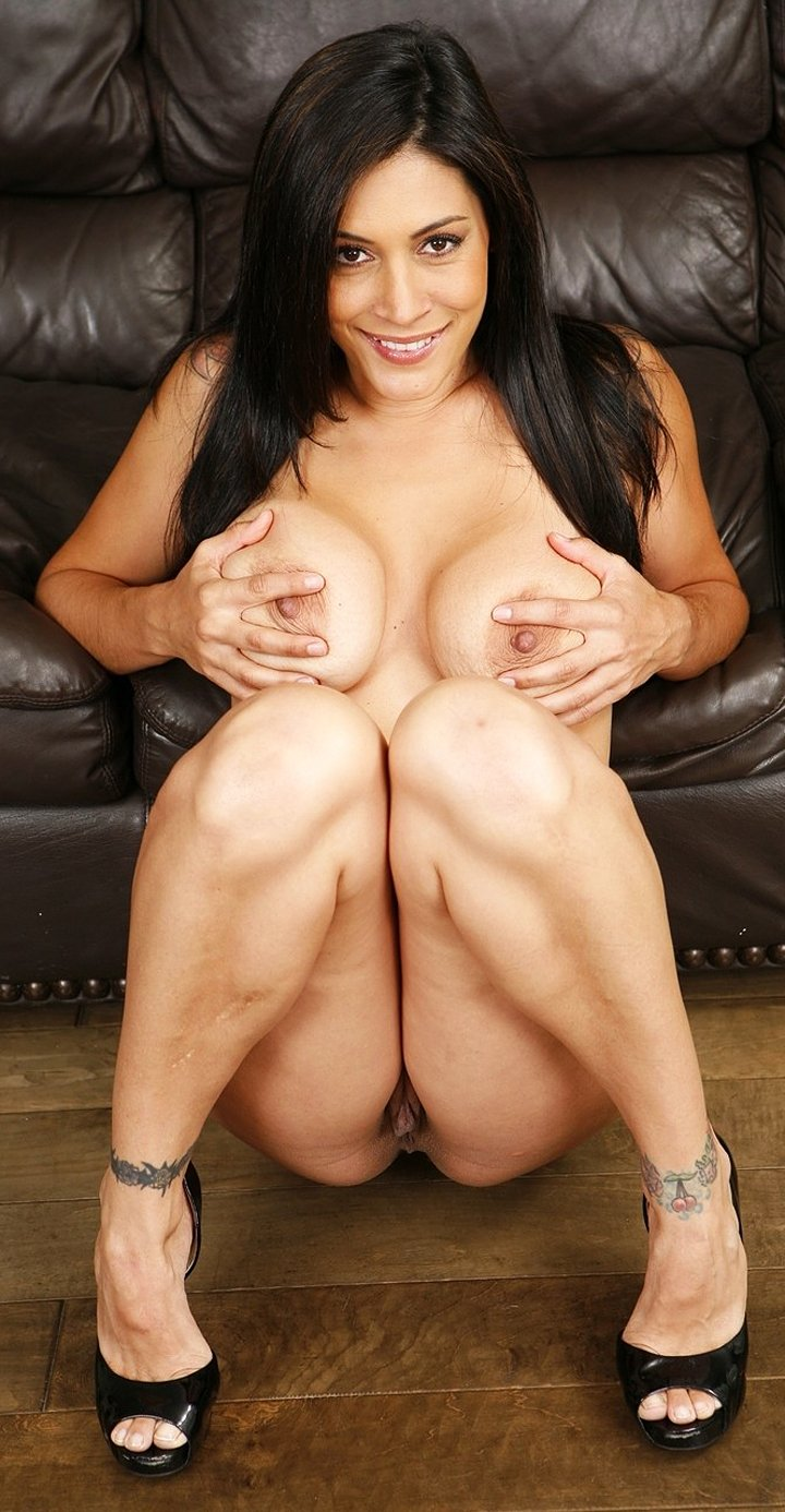 Chubby tattooed Latina brunette Raylene shows saggy tits