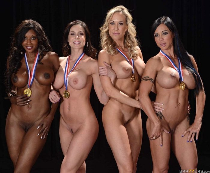 White and black babes with big boobs they are naked with medals on their necks